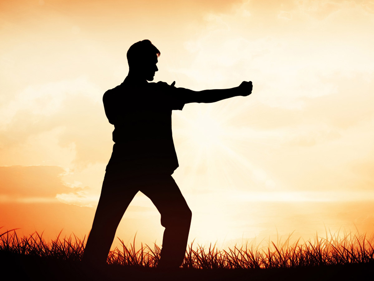 The silhouette of a man holding a martial arts pose contrasted with a bright yellow glowing background