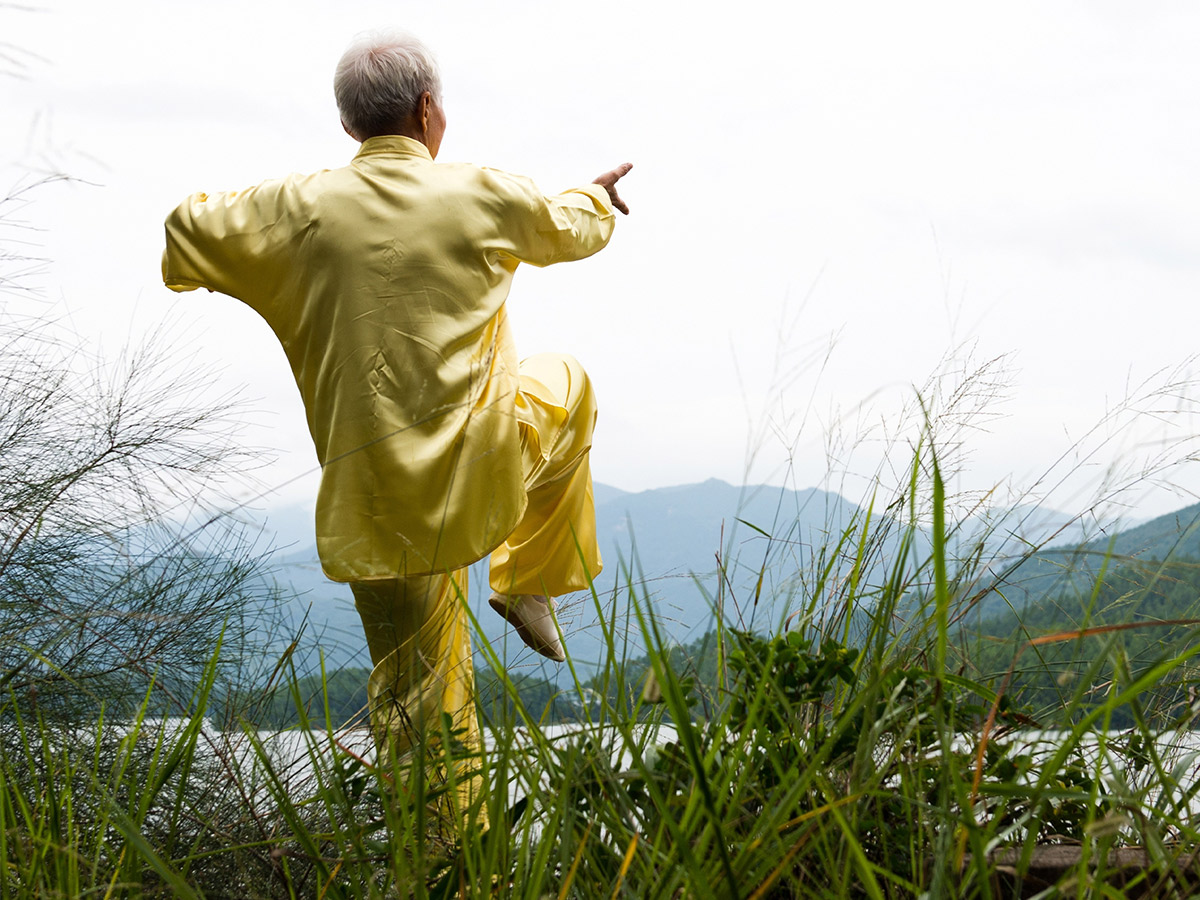 An image of a man doing tai chi in the mountains.